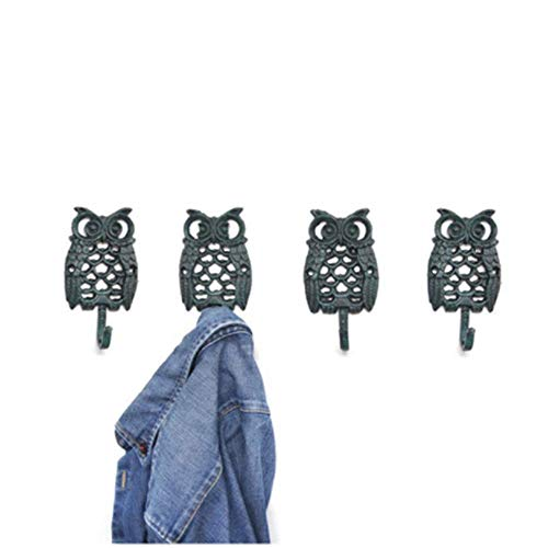 OH Coat Hooks Retro Creative Wall Hanging Decoration Owl Shape Wall Mounted Hat Rack Entryway Hooks Set of 4 Rustic Craft Single Towel Hanger Antique Chic Cast Iron Retro/Brown /