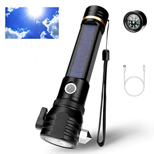 Linterna LED Recargable, Linternas Led Alta Potencia, Magnético Linterna Táctica, Carga USB y Solar Lámpara, Impermeable, con Brújula y 18650 Batería, para Reparación del Coche, Emergencia, Camping
