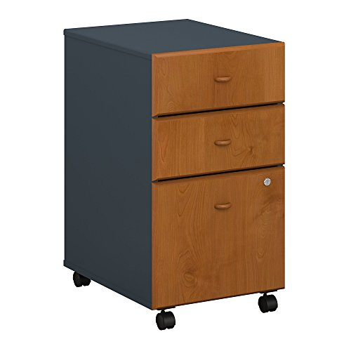 Bush Business Furniture Series A 3 Drawer Mobile File Cabinet - Natural Cherry/Slate 16W X 20D X 28H Ergonomichome American Made TAA Compliant