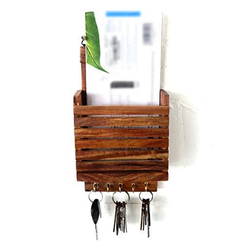 Houten brievenbus sleutelhouder, strepen-design met 5 sleutelhangers, sleutelmagazijn, briefhouder, bruine kleur document/sleutelorganizer voor thuis, Pasen, Moederdag, of karvrijdag