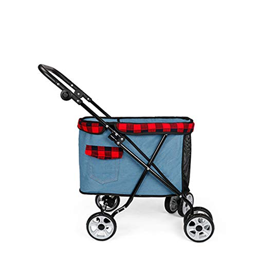 QQLK Haustier Reisen Kinderwagen Hundewagen Hundebuggy pet Stroller mit 4 Rollen, Einstellbare GriffhöHe, Panorama-Schiebedach,2