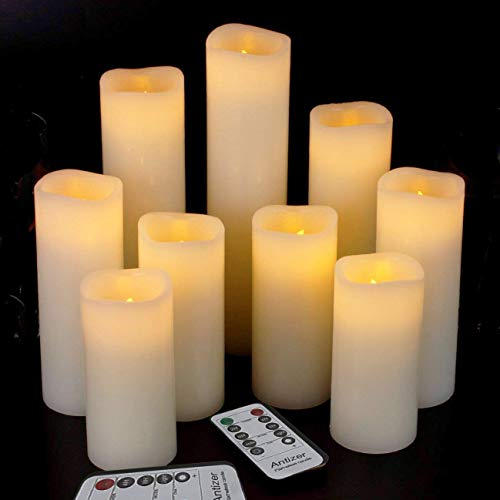 "Antizer Flameless Candles Led Candles Pack of 9 (H 4"" 5"" 6"" 7"" 8"" 9"" x D 2.2"") Ivory Real Wax Battery Candles with Remote Timer"