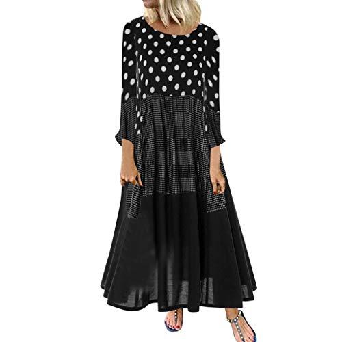 Damen Kleider Herbst Winter Langarm Beiläufige Lose Kleid Punkt drucken Baumwolle und Leinen Kleid Lässige Kleidung Abendkleid Partykleid...