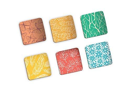 SataanReaper Presents Colorful Modern Handmade Wooden Coaster Set For Home Kitchen, Office Desk (Set Of 6, 4 X 4 Inch) #SR-414