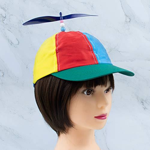 AUEAR取り外し可能な大人用プロペラ帽子 野球帽 レインボートップハット 明るいレインボーカラー (グリーンつば)