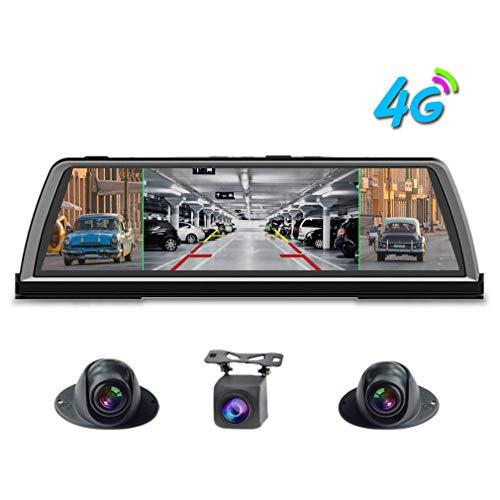SZKJ K600 - Cámara de salpicadero panorámica de 360 grados para coche, cámara DVR de 4 canales, grabadora de 10 espejo retrovisor táctil Android GPS Navi ADAS WiFi control remoto