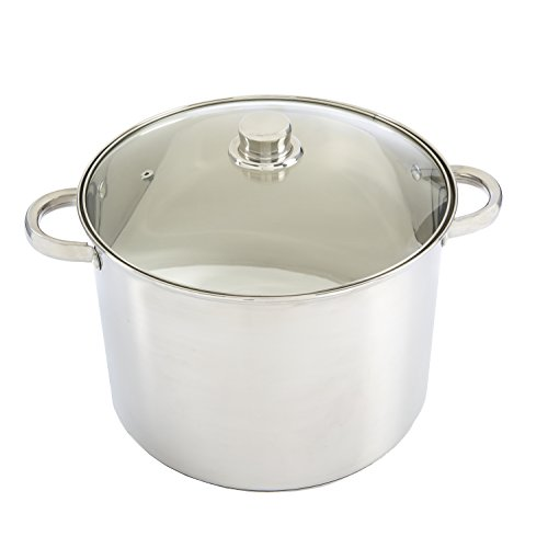 Ecolution Pure Intentions Stock Pot 12 Quart  Vented Tempered Glass Lid  Stainless Steel