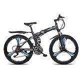 26 Inch Adults Folding Mountain Bike,Folding Disc Brake Full Suspension MTB, 21-Speed Folding Bikes,High-Carbon Steel Frame Full Suspension Foldable Bicycle (Blue)