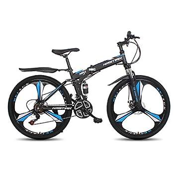 26 Inch Adults Folding Mountain Bike,Folding Disc Brake Full Suspension MTB 21-Speed Folding Bikes,High-Carbon Steel Frame Full Suspension Foldable Bicycle  Blue