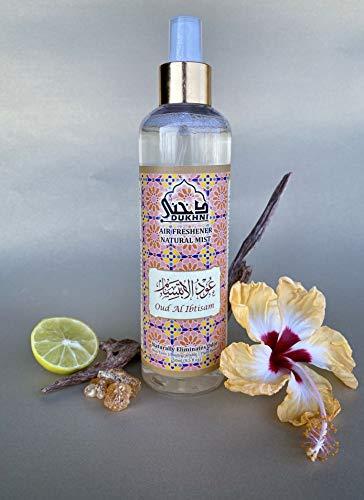 Dukhni Oud Al Ibtisam Attar Al Faraash 250ml - Alkoholfreier Raumduft und Textil Aroma Diffuser Perfekt für Gebetsteppich, Textilien, zum Versprühen im Raum und auf Stoffen. 100% Halal und Alkoholfrei