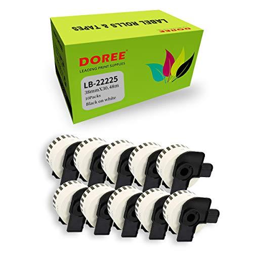 10 × DOREE DK-2225 DK22225 kompatibel Brother DK-2225 DK22225 dk2225 durchgehende Länge Papierband — 38 mm x 30,48 m kompatibel für Brother P-Touch QL-1100 QL-1060N