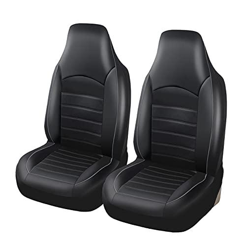 Protector de asiento de coche 2 piezas Fundas universales de cuero de PU para asiento delantero de coche Funda de asiento de cubo con respaldo alto Se adapta a la mayoría de los coches, camiones, SUV
