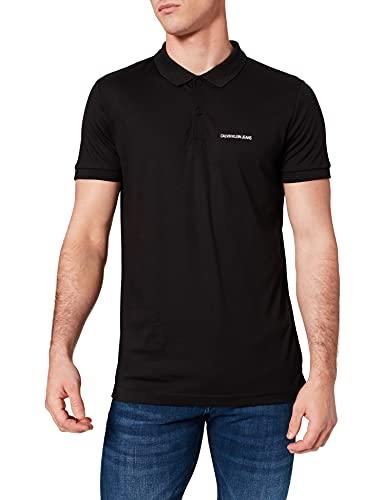 Calvin Klein Jeans Micro Branding Liquid Polo Camisa, CK Negro, M para Hombre