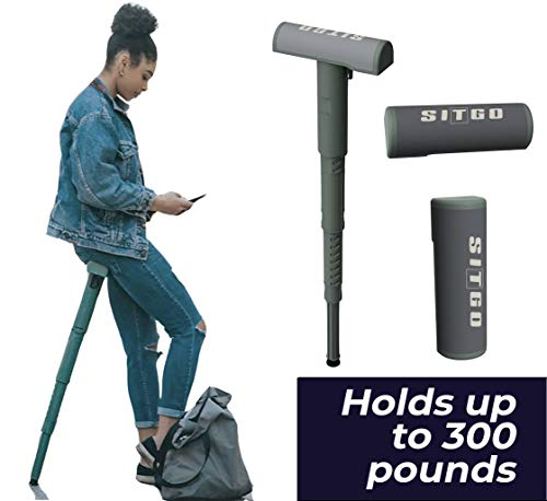 SitGo Portable Seat | Lightweight Adjustable and Folding Leanto Stool for Hiking Traveling Camping Concerts and Amusements Parks Green