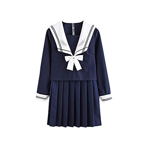 Himifashion Les étudiants Japonais jk Uniformes Costumes Jupes plissées Marin Costumes (S)
