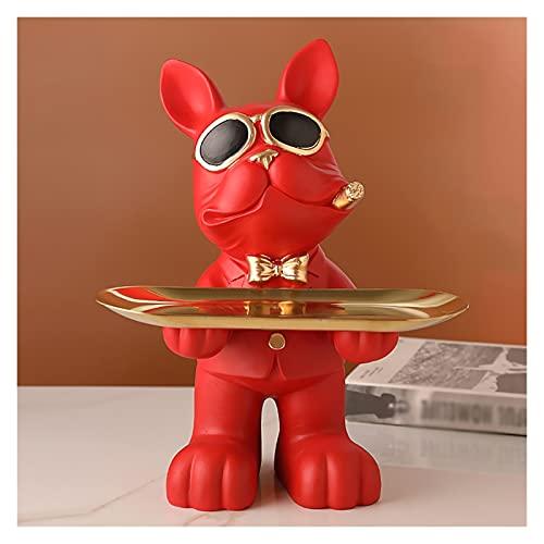 Bandeja De Plato De Porta Joyas Organizador De La Llave De La Joyería Figuras De Escultura Artística De Resina, Decoración del Hogar, Regalo, Bandeja De Entrada Decorativa para Dulces (Color : Red)