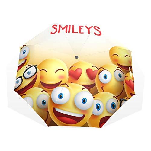 LUPINZ Kompakter Reise-Regenschirm Emoji Smiley Gesichter, Wind- und wasserabweisend, faltbar
