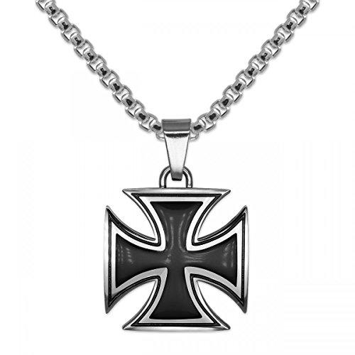 SoulCats® 1 Kettenanhänger Eisernes Kreuz aus Edelstahl Silber mit Kette, Kettenlänge:Kette 55 cm