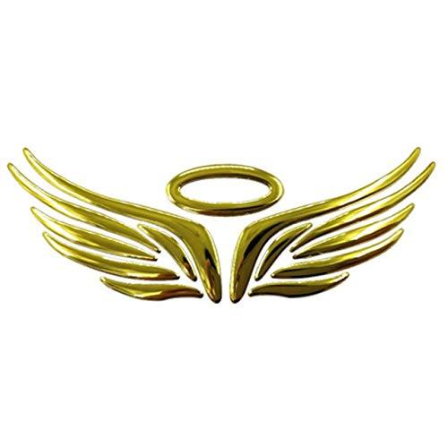 Csfssd 3D Auto Aufkleber Engelsflügel PVC-Chrom-Abzeichen-Abziehbild-Auto-Aufkleber wasserdicht Autofahne Aufkleber Auto-Logo-Aufkleber (Farbname : Gold)