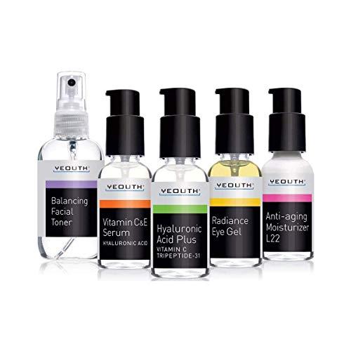 Yeouth Lot de 5 flacons de soin complet anti-âge pour le visage – Sérum à la vitamine C – Sérum à l'acide hyaluronique – Crème gel contour des yeux – Crème hydratante pour le visage L22