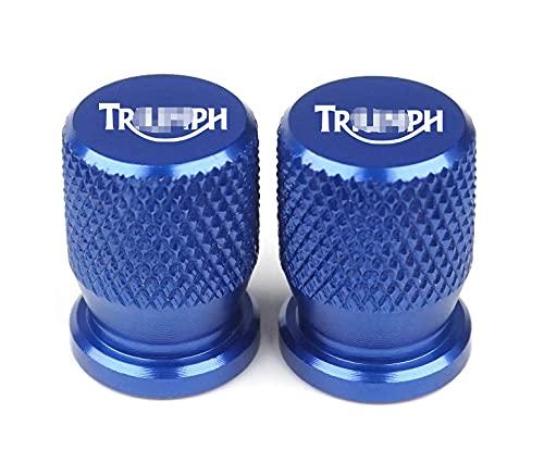 GUANGGUANG Heartwarming Shop Ajuste para Triumph Daytona 675 Street Triple/R Tiger Explorer 1200 800 XC Válvula de neumático de Rueda Universal Tapas de Tallo CNC Cubiertas herméticas (Color : Blue)