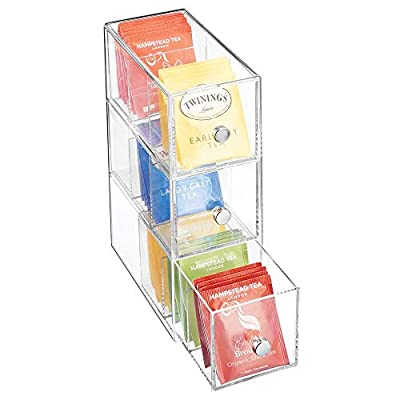 mDesign Plastic Kitchen Pantry, Cabinet, Countertop Organizer Storage Station with 3 Drawers for Coffee, Tea, Sugar Packets, Sweeteners, Creamers, Drink Pods, Packets - 3 Sections - Clear
