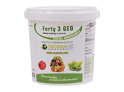 Ferty 3, NPK(Mg) 15-10-15+(2) + microelementi (1 kg), concime in polvere idrosolubile per piante e fiori