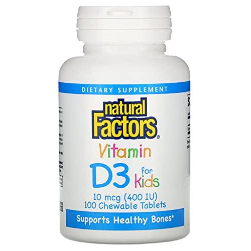 Natural Factors Vitamin D3, Strawberry Flavour, 400IU, 100 Chewable Tablets