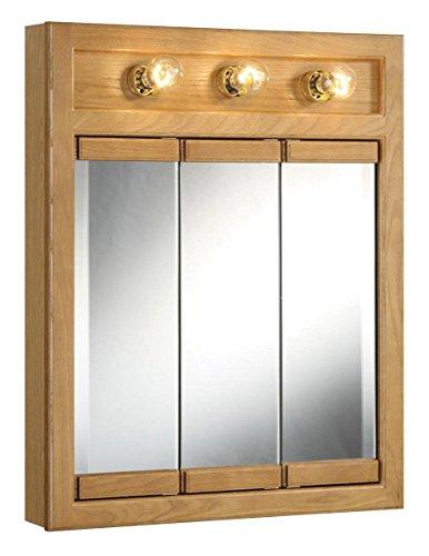 "Design House 530592 Richland Lighted Mirrored Medicine Cabinet, Nutmeg Oak, 24"""