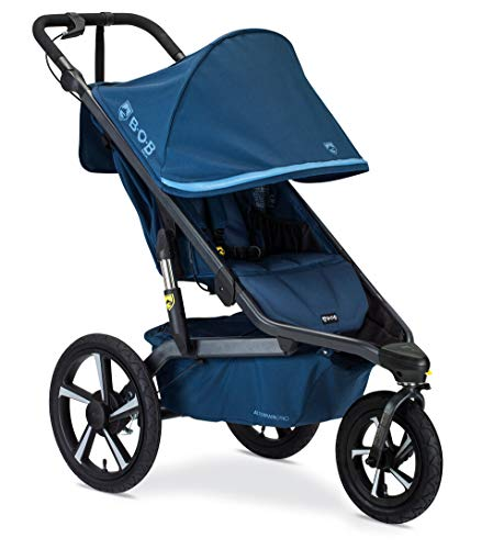 BOB Gear Alterrain Pro Jogging Stroller | One-Hand Quick Fold - Smoothshox + Airfilled Tires, Blue