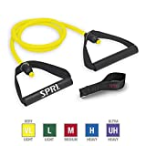 SPRI Xertube Resistance Bands Exercise Cords w/Door Attachment, Yellow, Very Light
