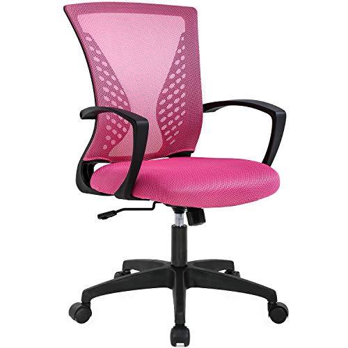Office Chair Desk Chair Computer Chair with Lumbar Support Armrest Mid Back Rolling Swivel Task Adjustable Mesh Ergonomic Chair for Women Adults, Pink