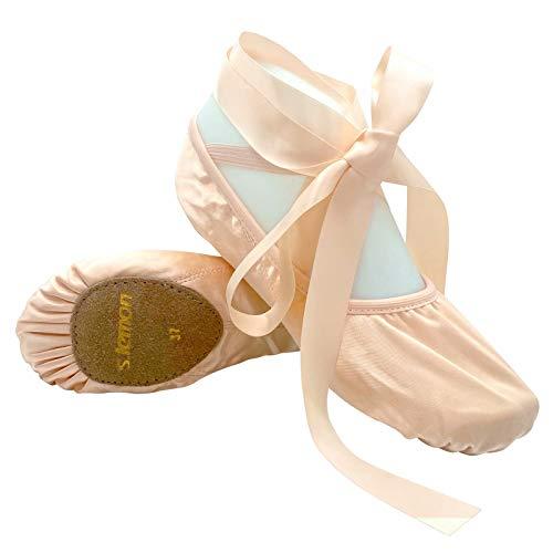 s.lemon Satin Ballettschuhe mit Bändern Rosa Ballettschläppchen Tanzschuhe für Kinder Mädchen (31 EU)