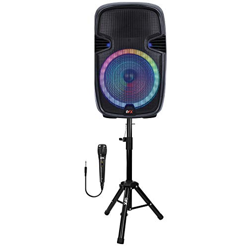 """QFX PBX-153SM 15"""" Bluetooth Rechargeable Speaker with LED Party Lights, Microphone and Stand (2021 Model)"""
