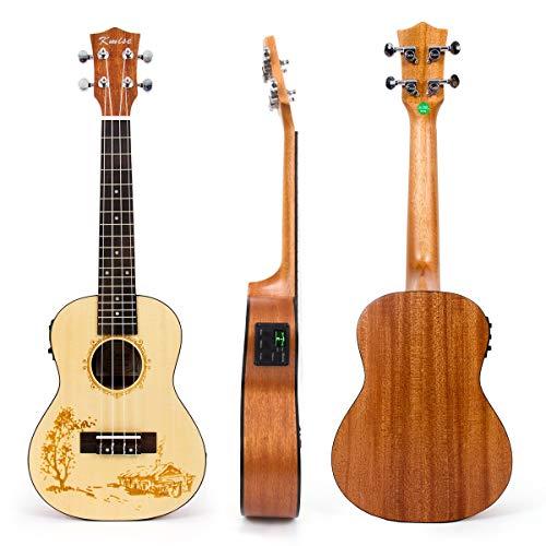 Kmise Concert Ukulele Electric Acoustic Solid Spruce Top Sapele Ukelele...