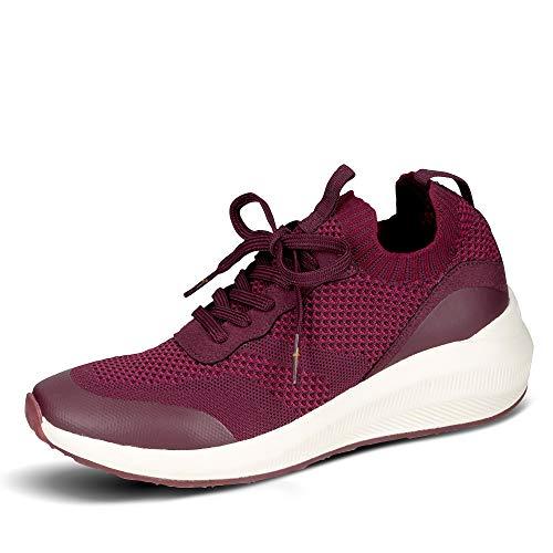 Tamaris Damen Textil Sneaker Bordeaux - 38/38.0