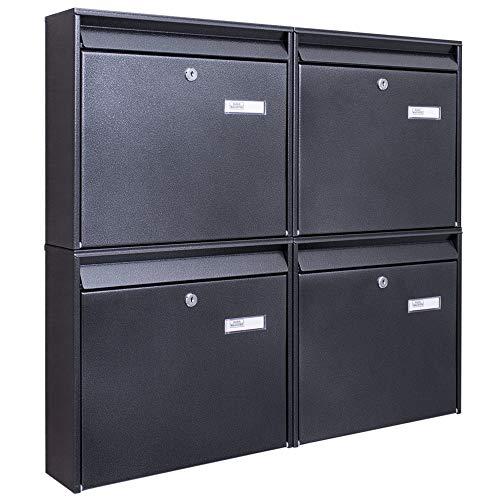 Burg-Wächter Briefkastenanlage 4 Fach | 72,4 x 64,4 x 10cm Stahl verzinkt anthrazit schwarz DIN A4 | Briefkasten Set mit Namensschild, 2 Schlüssel, Montagematerial