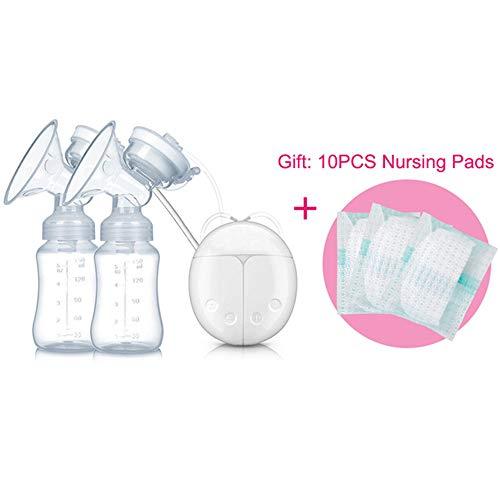 Tiners Doppelte Elektrische Milchpumpe Milchpumpe Für Das Baby, Das Starke Saug-FDA-Säuglingsmilch-Auszieher-Brustvergrößerungs-Pumpen Einzieht,LightGrey