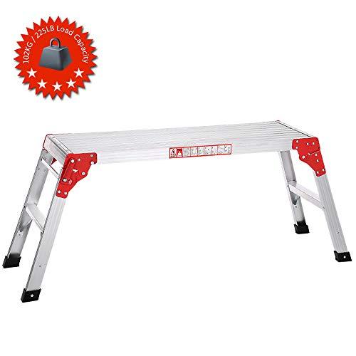 Galapara Plataforma Plegable De Trabajo De Aluminio, Banco Plegable Plataforma de Trabajo Escalera de Aluminio, Multiuso, MAX.225LB Capacidad Escalon Taburete