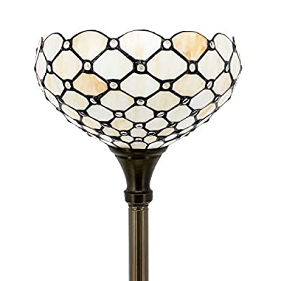 Tiffany Style Torchieres Floor Lamp Table Desk Standing Lighting Wide 12 Tall 66 Inch Crystal Pear Bead Stained Glass Lampshade for Living Room Bedroom Antique S005 WERFACTORY