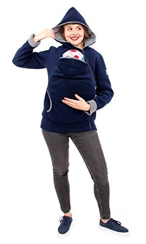Viva la Mama Damen Tragejacke Fleece Winterjacke Mama Baby Fleecepullover für Tragetuch Umstandsjacke – AHOI Marine blau Streifen – XXL - 3