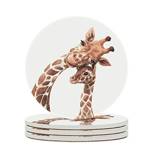 Madre jirafa posavasos conjuntos de cerámica resistencia al calor taza de piedra posavasos de taza trajes para café bebida vajilla para el hogar cocina blanco 6 piezas