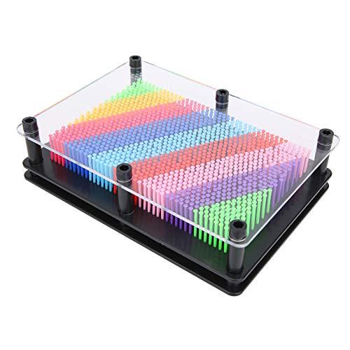 Clone Pin Art Toy, robuster transparenter Rahmen Fun Pin Art Toy, tragbar langlebig für Erwachsene Büro Kinderheim(Medium, Colorful black background)