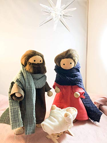 Heilige Familie material set inkl. Schnittmuster krippe weihnachten nach waldorf art puppen beweglich Biegepuppen mit Rohlingen