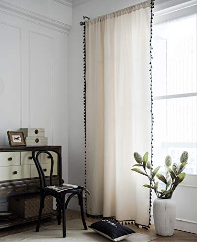 Hughapy Boho Curtains for Bedroom Bohemian Tassel Curtains Rod Pocket Cotton Linen Farmhouse Country Style Room Darkening Curtain Panel for Living Room, 1 Panel (59W x 87L, Solid)