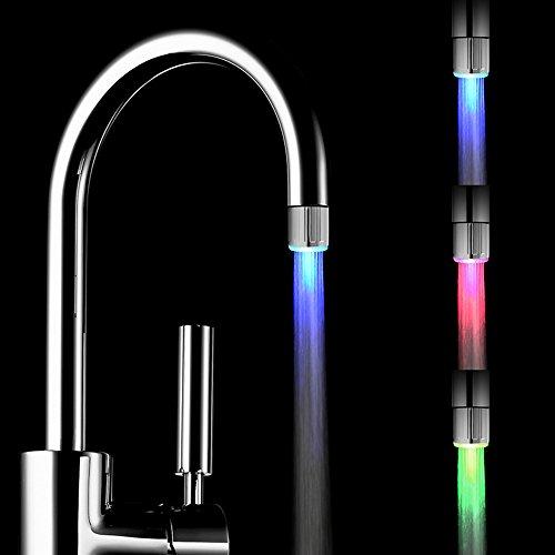 YoMaris 2 Pezzi Acqua Rubinetto LED colorato con 3 Colori Che cambiano Termica, RC-F03 Flusso d'Acqua del Rubinetto di Rubinetto per Cucina e bagni.