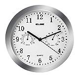 Elbe RP-3005-9 Reloj de pared con termómetro e higrómetro, mide temperatura y humedad, 25 cm diámetro, panel blanco marco plata, funciona con pilas, color plata