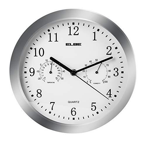 Elbe RP-3005-9 Reloj de pared con termómetro e higrómetro, mide temperatura y...