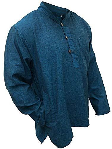 SHOPOHOLIC FASHION Plain Grandad Shirt(S,Turquoise)