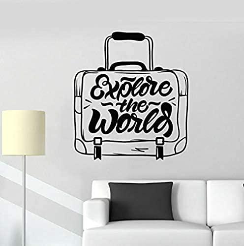 jjyyy Maleta de Viaje Etiqueta de la Pared Descubrimiento de Palabras World Travel Vinilo Etiqueta de la Ventana Dormitorio Creativo Agencia de Viajes Diseñador de Interiores 42X46 cm